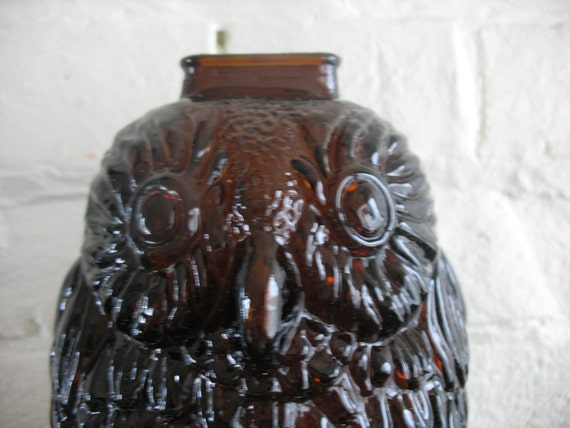 Vintage owl amber glass bank wise old owl libbey owl - Wise old owl glass bank ...