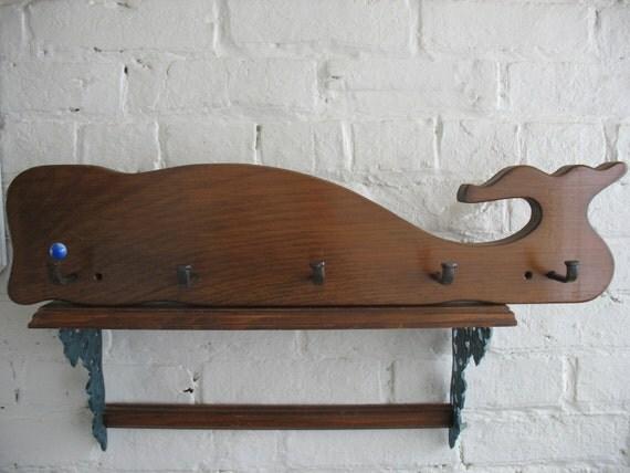 Whale Coat Rack - Folk Art - Nautical  - Coat Hanger - Decoration