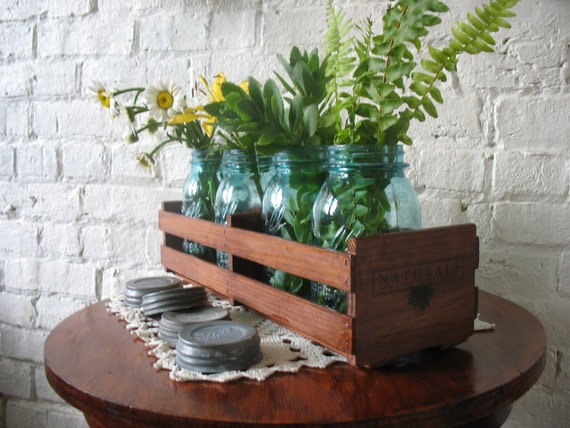 Crate And Vintage Blue Mason Jars Repurposed By