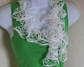 Ruffle scarf handmade  crochet lace and soft white scarf for spring and summer