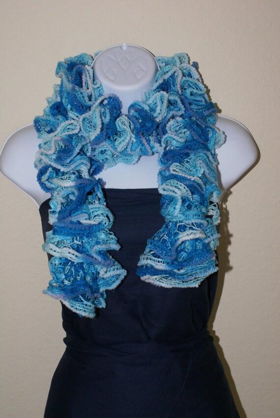 Ruffle lace soft scarf hand knit
