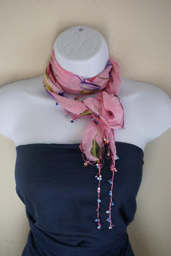 Traditional multipurpose handmade seasonal pink purple flower lace scarf