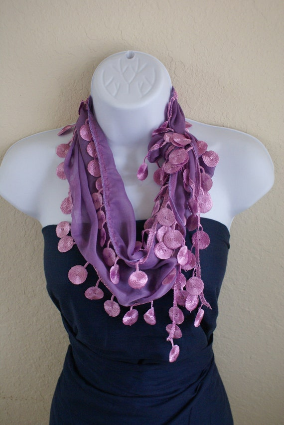 Traditional multipurpose handmade seasonal purple flower lace scarf