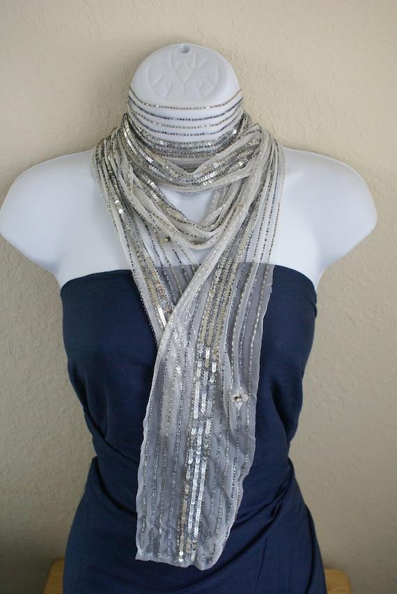 Handmade Beaded  multipurpose silver white color  scarf