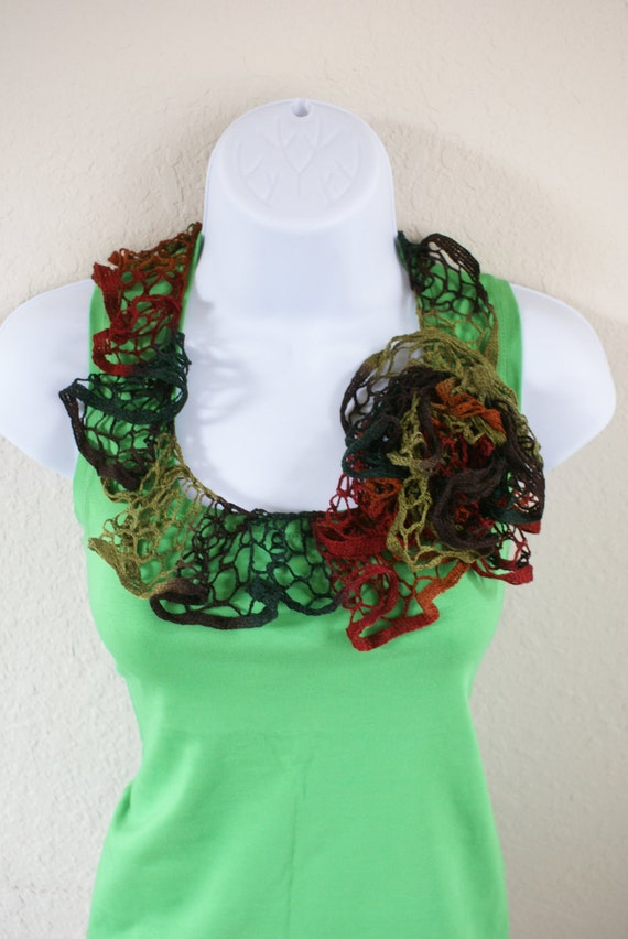 Ruffle scarf handmade  crochet lace and soft green brown black red scarf for spring and summer