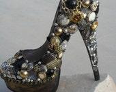 Gold, Black, Vintage Button, Mirror, Chain, (Custom Heels)