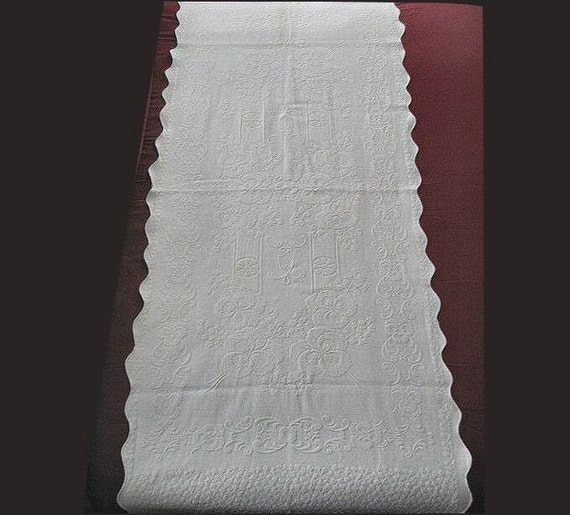 Reserve For Carla Matelasse Cotton Table Runner Or Bed Throw