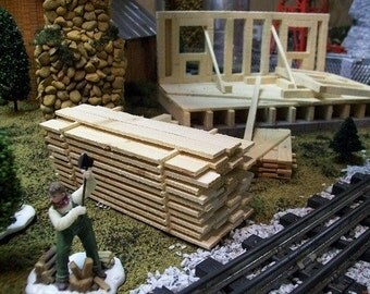 SAWMILL SCENERY - Miniature Lumber Pile // Wedding Tables / Kit Building / Model Railroad O Gauge Layouts / Fairy Gardens