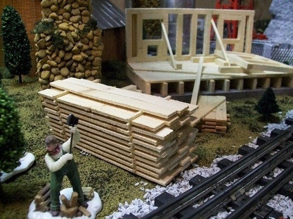 Miniature Pile of Lumber for  Wedding Favors, Building Scenery , Model Railroad O Gauge Layouts or Fairy Gardens