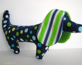 Dachshund Toy  Dog with Blue and Green Polka Dots