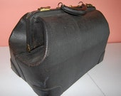 Antique Doctors Leather Bag 1940s Vintage Luggage
