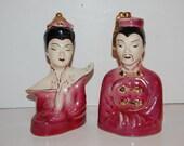 Vintage 50s Oriental Asian Ceramic Figurines Statues Pair of 2