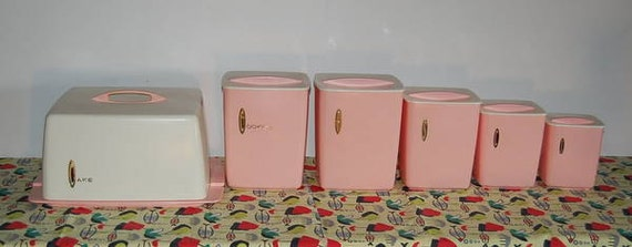 Set 6 Vintage 50s Pink Canister and Cake Carrier Retro Kitchen Set