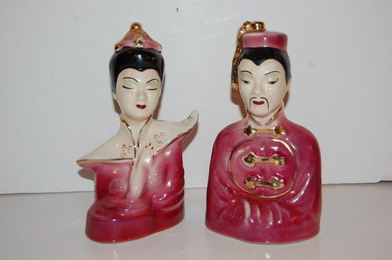 Vintage 50s Oriental Asian Ceramic Figurines Statues Pair of 2