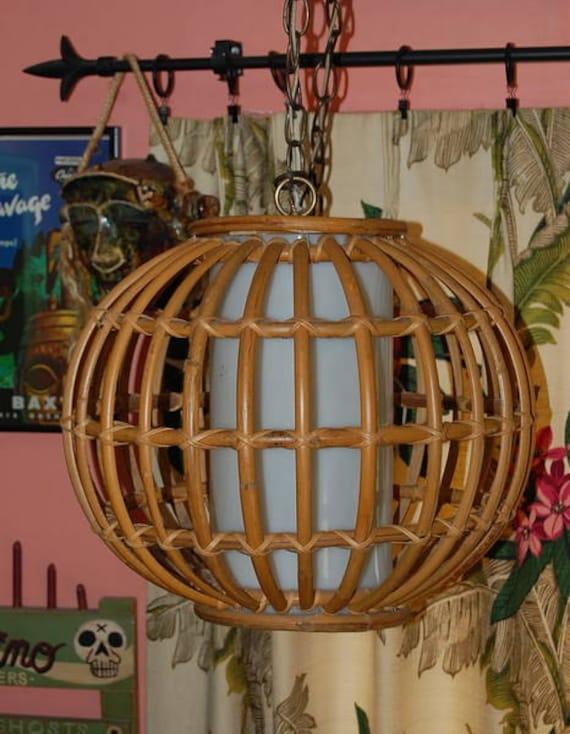 Tiki Bamboo Rattan Vintage Ceiling Hanging Lamp Light Swag Mid