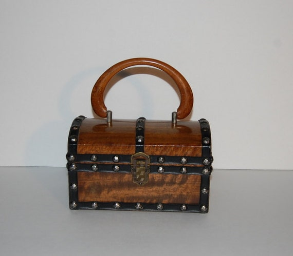 Vintage 1960s London Mod Wood Treasure Chest Box Purse Made In