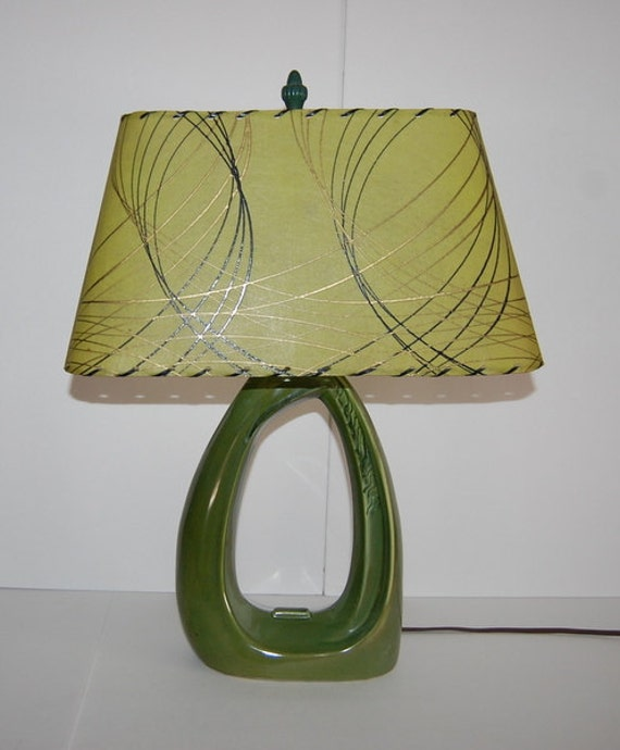 1950s Vintage Lamp Ceramic Green Fiberglass Atomic Shade Mid