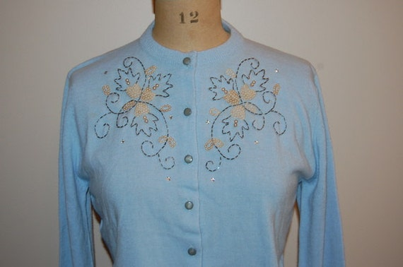Vintage 50s Pearl and Beaded Blue Cardigan Sweater