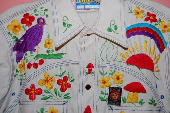 Vintage 60's Men's Embroidered Western Shirt Made In Mexico Hippie Mod Boho