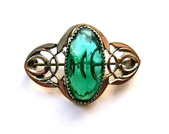 Victorian Green Brooch 1900s Mothers Day