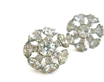 Vintage Earrings Rhinestone Bridal Costume Jewelry 1950s