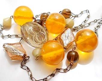 Vintage Boho Necklace Faux Amber Glass 1960s