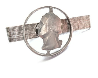 Vintage Cut Coin Tie Clasp U.S. Quarter 1960s Hipster Gift Coin Collector