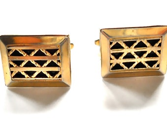 1950s Cuff Links Hickok Filigree Gold Toned