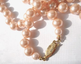 Pearl Necklace Pink Japan 1950s Wedding Bridal Jewelry