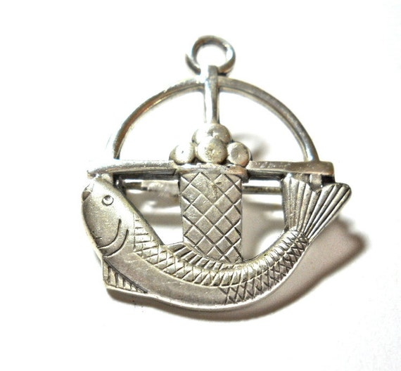 Vintage Sterling Creed Fish and Loaves of Bread Pin Pendant