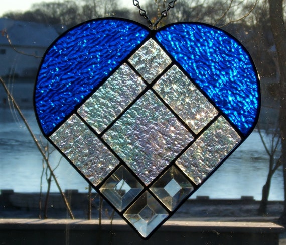 Sale 25% off Stained glass heart blue stained glass panel window stained glass window panel window hanging suncatcher Valentines day