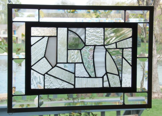 Stained glass window panel black and white abstract clears geometric stained glass panel window hanging beveled