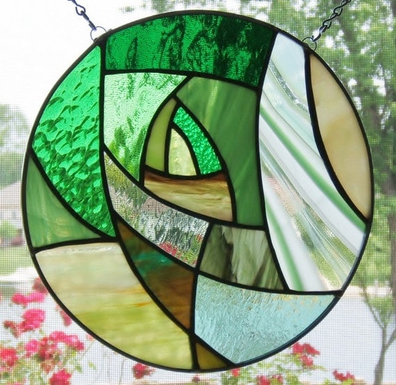Stained glass window panel green abstract round stained glass panel window hanging geometric suncatcher home & living