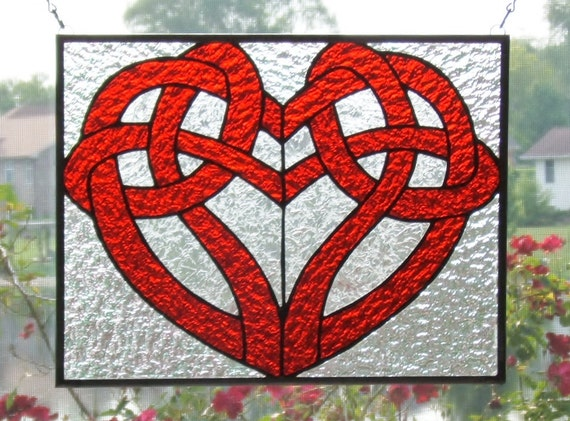 Celtic Knot Heart Stained Glass Panel Window Red And Clear