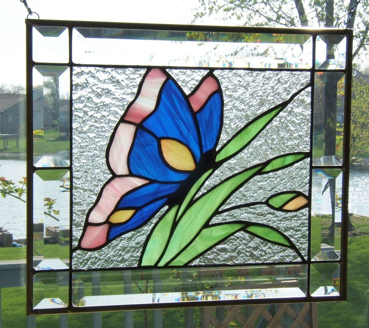 Beveled Stained Glass Panel Window Butterfly Blue By Sghovel