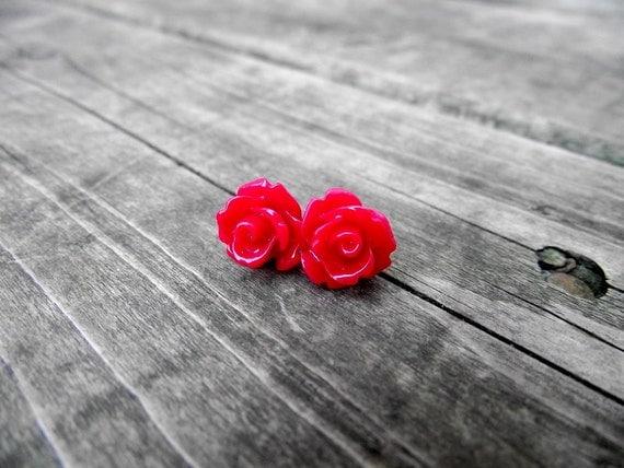 THE ROSETTE EARRINGS - Crimson