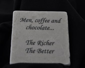 Men, Coffee And Chocolate Coasters Set of 4 Handcrafted