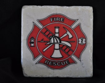 Fire and Rescue Coasters Set of 4 handcrafted