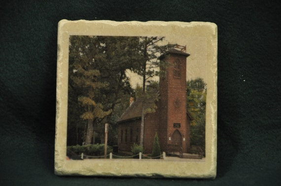 Little Brown Church Coasters Set of 4 Handcrafted