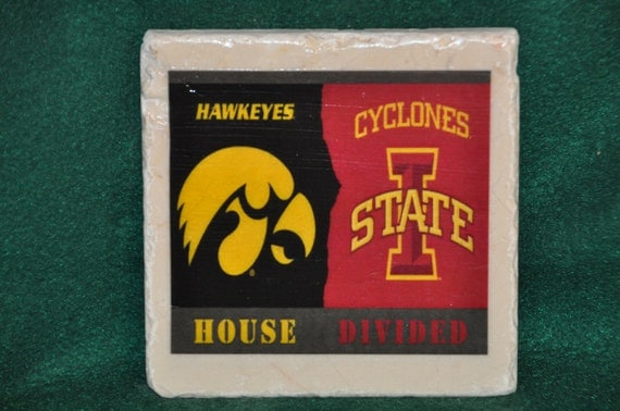 Hawkeyes and Cyclones Divided Coasters Set of 4 handcrafted