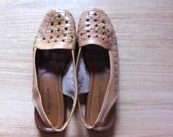 PRICE REDUCED // vintage brown karen scott huarache like leather sunstepper sandals // slingback // women's size 7