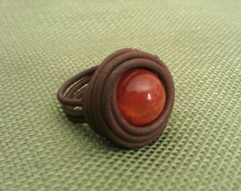 Womens Ring Handcrafted of Vintage Ranch Wire and Fire Agate, Birds Nest Ring