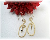 Golden earrings Wirework Dangles With Tiny Crystals