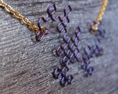 Fractal Necklace - Dragon Curve in Purple