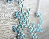 Fractal Necklace - Dragon Curve in Ice Blue