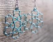 Fractal Earrings - Koch Snowflake Jewelry in Ice Blue / Peacock Blue