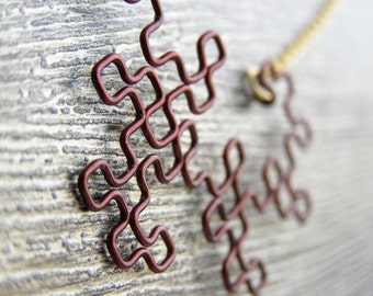 Fractal Necklace - Dragon Curve in Cocoa Brown