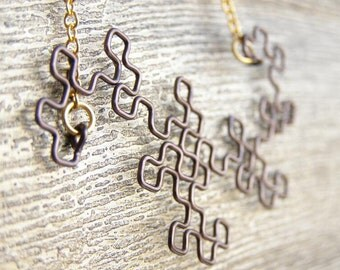 Fractal Necklace - Dragon Curve in Gunmetal
