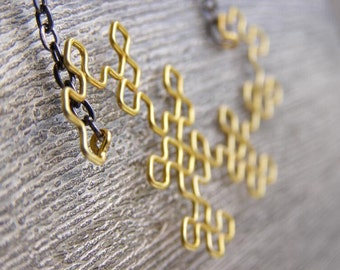Fractal Necklace - Dragon Curve in Yellow / Gold