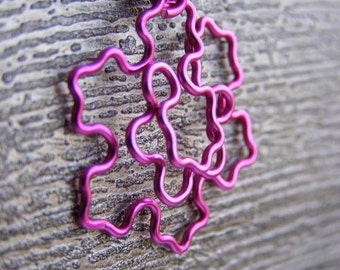 Fractal Necklace - Koch Snowflake in Fuchsia